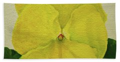 Beach Towel featuring the painting Yellow Pansy by Wendy Shoults