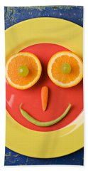 Yellow Plate With Food Face Beach Towel