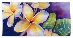 Yellow Plumeria Flowers Beach Sheet