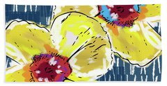 Yellow Poppies 2- Art By Linda Woods Beach Towel by Linda Woods