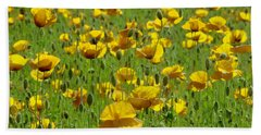 Yellow Poppy Field Beach Towel