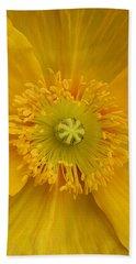 Yellow Poppy Flower Center Beach Towel