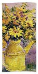 Yellow Pot Of Sunshine Beach Sheet