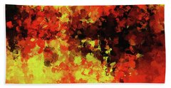 Beach Towel featuring the painting Yellow, Red And Black by Ayse Deniz