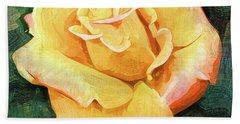 Yellow Rose Bloom In Oil Beach Towel