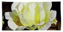 Yellow Rose Dew Drops Beach Towel
