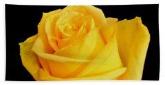 Yellow Rose On Black Beach Towel
