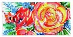 Yellow Rose Red Beach Sheet by Nada Meeks