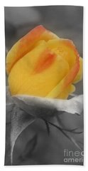 Yellow Rosebud Partial Color Beach Towel