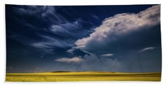 Yellow Sea Under The Blue Sky  Beach Towel