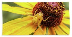 Yellow Spider Beach Towel by Doug Long