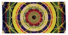 Beach Towel featuring the painting Yellow Spiral by Kym Nicolas