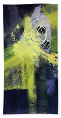 Beach Towel featuring the painting Yellow Splash by Nancy Merkle