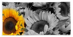 Yellow Sunflower On Black And White Beach Towel