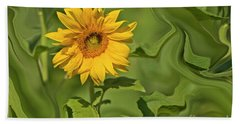 Yellow Sunflower On Green Background Beach Towel