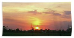 Yellow Sunset At Park Beach Towel