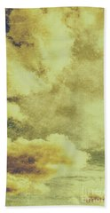 Yellow Toned Textured Grungy Cloudscape Beach Towel