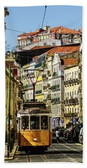 Yellow Tram In Downtown Lisbon, Portugal Beach Towel