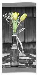 Beach Towel featuring the photograph Yellow Tulips In Glass Bottle by Terry DeLuco