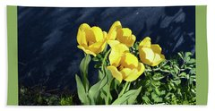 Yellow Tulips Beach Sheet by Kathleen Stephens