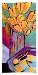 Yellow Tulips Beach Sheet