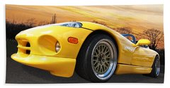 Yellow Viper Rt10 Beach Sheet by Gill Billington