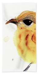 Beach Towel featuring the painting Yellow Warbler by Dawn Derman