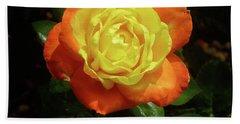 Yellow Red Rose Flower. Beach Towel