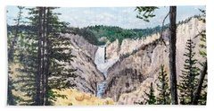 Beach Towel featuring the painting Yellowstone Falls by Kevin Daly