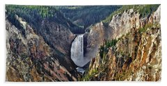 Yellowstone Falls Seen From Artist Point Beach Towel