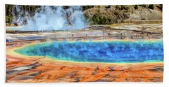 Beach Towel featuring the painting Yellowstone National Park Grand Prismatic Spring by Christopher Arndt