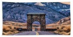 Beach Towel featuring the painting Yellowstone National Park North Entrance by Christopher Arndt