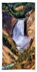 Beach Towel featuring the painting Yellowstone National Park Upper Falls by Christopher Arndt