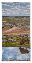 Beach Sheet featuring the painting Yellowstone Reflections by Erin Fickert-Rowland