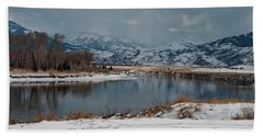 Yellowstone River In Light Snow Beach Towel