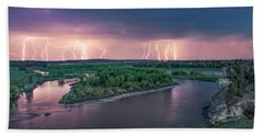 Yellowstone River Lightning Beach Towel