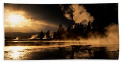 Yellowstone River Sunrise Beach Towel