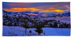 Beach Towel featuring the photograph Yellowstone Winter Morning by Greg Norrell