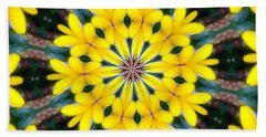 Yelow Floral Burst Beach Towel by Shirley Moravec