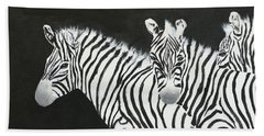 Yin And Yang Triptych White On Black Beach Towel by Mohamed Hirji