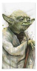 Yoda Watercolor Beach Towel