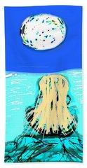 Yoga By The Sea Under The Moon Beach Towel