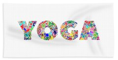 Yoga Word Art Beach Towel
