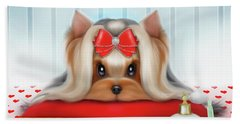 Beach Towel featuring the painting Yorkie Beauty by Catia Lee