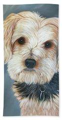 Beach Towel featuring the painting Yorkie Portrait by Karen Zuk Rosenblatt