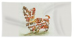 Beach Sheet featuring the painting Yorkshire Terrier Watercolor Painting / Typographic Art by Inspirowl Design