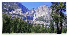 Yosemite Valley Waterfall Beach Towel