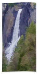 Yosemite Falls Digital Watercolor Beach Towel