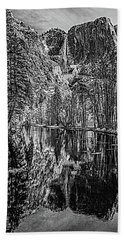 Beach Sheet featuring the photograph Yosemite Falls From The Swinging Bridge In Black And White by Bill Gallagher