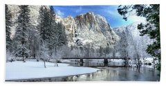 Yosemite Falls Swinging Bridge Yosemite National Park Beach Sheet